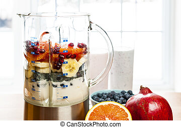 confection, smoothies, dans, mixer, à, fruit, et, yaourth