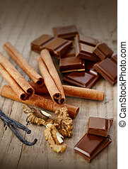 confectionary products. Chocolate, cinnamon, walnuts and...