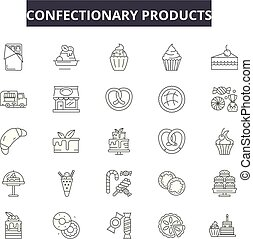 Confectionary products line icons, signs set, vector....