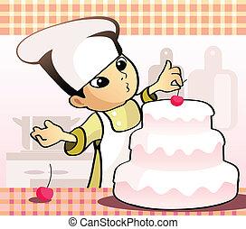 Confectioner baking a cake - Vector illustration of a ...