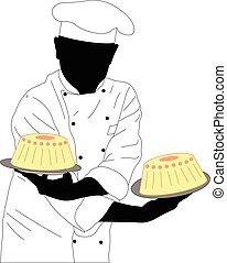confectioner, bolos, dois, segurando