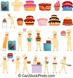 Confectioner icons set, cartoon style