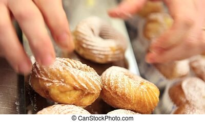 confectioner prepare sweets in pastry shop
