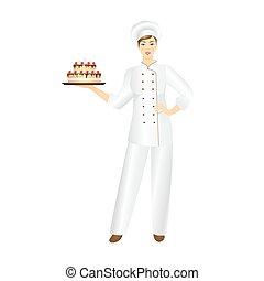 Confectioner - Vector illustration of smiling confectioner...
