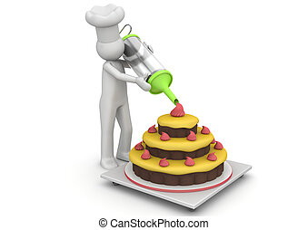 Confectioner working with creme - 3d characters isolated on...