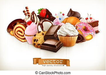 Confectionery. Chocolate, cakes, cupcakes, donuts. 3d vector...