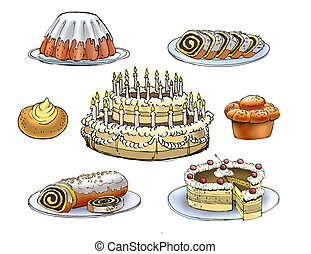 Confectionery - Colorful drawing of confectionery cakes pies...