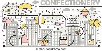 Confectionery concept vector illustration. Modern thin line art flat style design element with bakery pastry sweet food symbols, icons for website banners and printed materials.