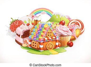 confectionery, doce, house., ilustração, vetorial, sobremesas, 3d