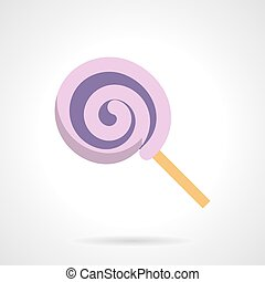 Confectionery flat vector icon. Purple lollipop