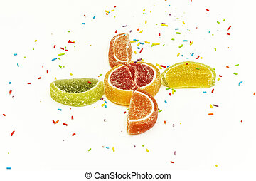 confectionery, fruta cítrica, marmelada, fundo, polvilhar, cunhas, branca