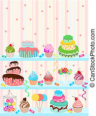 Illustration of sweets and cakes with pastel colors background