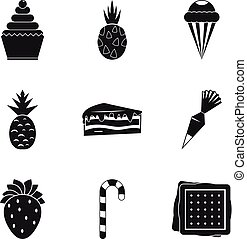 Confectionery product icons set, simple style