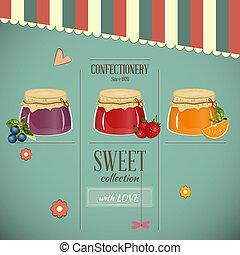 Confectionery Menu Card in Retro style - Jam marmalade Dessert on Vintage Background - Vector illustration