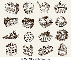 confectionery. set of vector sketches on a gray background
