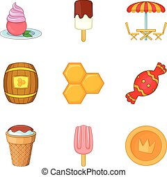 Confectionery shop icons set, cartoon style