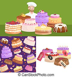 confectionery shop Sale. Set of sweets, cakes. desserts. vector illustration
