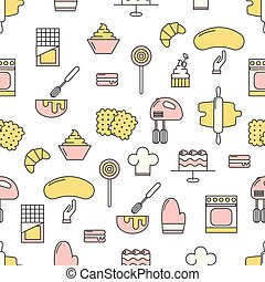 Confectionery vector flat line art decorative seamless pattern