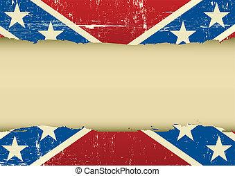 confederado, arranhado, bandeira