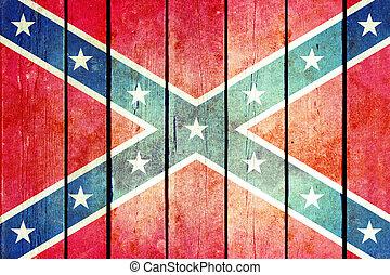 confederado, de madera, grunge, flag.