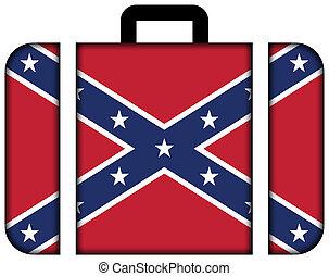 confederado, flag., maleta, icono, viaje, y, transporte, concepto