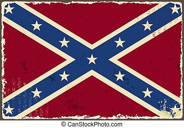 confederado, grunge, flag., vetorial, ilustração