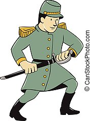 Illustration of a Confederate Army soldier during the American Civil War drawing his sword on isolated background done in cartoon style.
