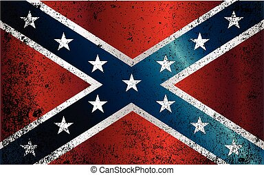 Confederate Civil War Flag Grunge - The flag of the...
