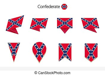 Confederate flag collection, eight versions of Confederate vector flags. Vector illustration.