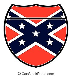 Confederate Flag In An Interstate Sign