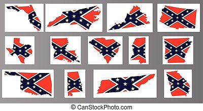 Outline flag maps of the confederate states over a gray background