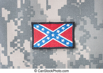 Confederate flag on camouflage uniform