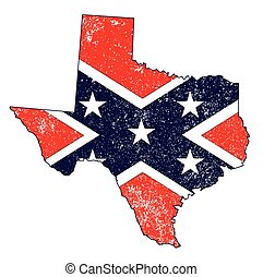The flag of the confederates over a silhouette map of Texas