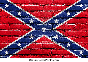Confederate Flag, painted on brick wall