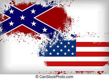 Confederate flag vs. Union flag.