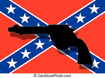 Confederate flag with hand gun