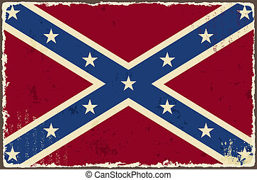Confederate grunge flag. Vector illustration. Grunge effect...