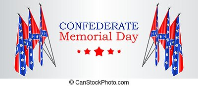 Confederate Memorial Day vector banner or website header layout with realistic Confederate flags on gray background