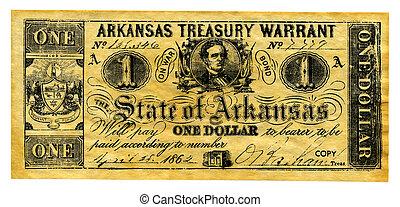 Confederate Money - Photo of Confederate Treasury Note -...