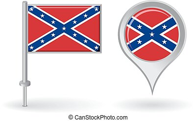 Confederate pin icon and map pointer flag. Vector