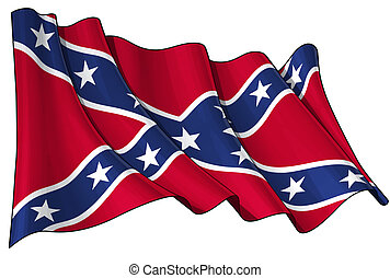 Confederate Rebel flag - Clean cut illustration of a waving...