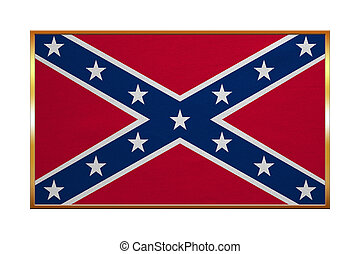 Confederate rebel flag, golden frame, textured