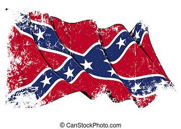 Confederate Rebel flag Grunge - Waving Confederate Rebel...