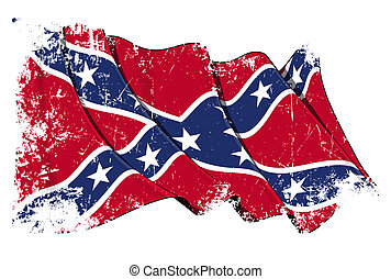 Confederate Rebel flag Grunge - Waving Confederate Rebel...