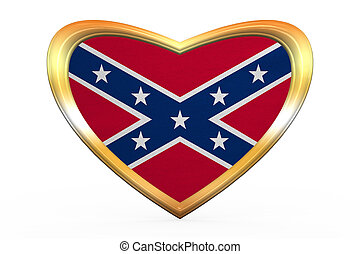 Historical national flag of the Confederate States of America. Known as Rebel, Dixie flag. Patriotic symbol, banner. Flag of the CSA on white. Heart shape, golden frame, fabric texture 3D illustration