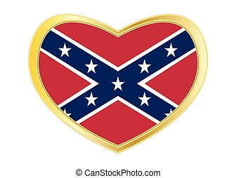 Confederate rebel flag in heart shape Golden frame