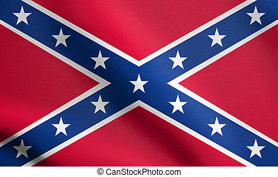 Confederate rebel flag waving with fabric texture