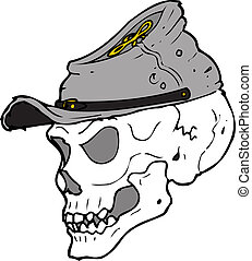 a skeleton head with a confederate cap on