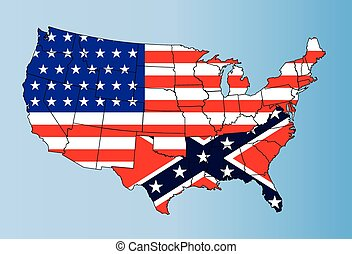 An outline map of The United States of America showing the confederate states against the confederate flag