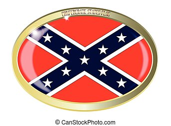 Confederate States Flag Oval Button